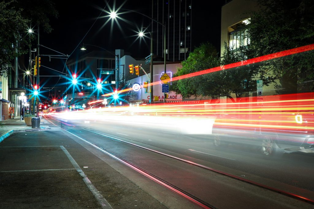 photo of Tucson street at night.